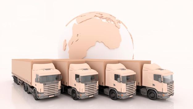 Envío internacional y entrega de mercancías, ilustración 3d