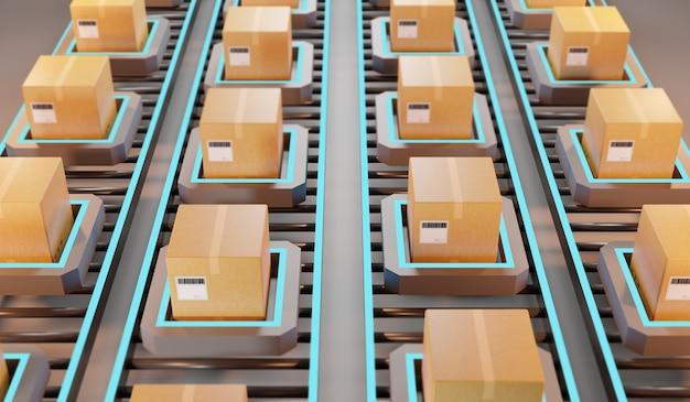 Envío de paquetes. gestión logística automática, renderizado 3d
