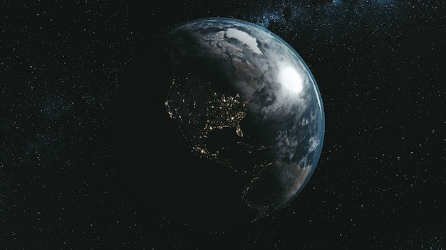 Epic spin planet earth galaxy night satellite view