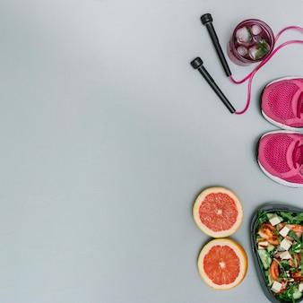 Equipamiento deportivo y comida saludable