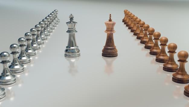 Equipo de ajedrez y lucha de reyes, renderizado de ilustración 3d