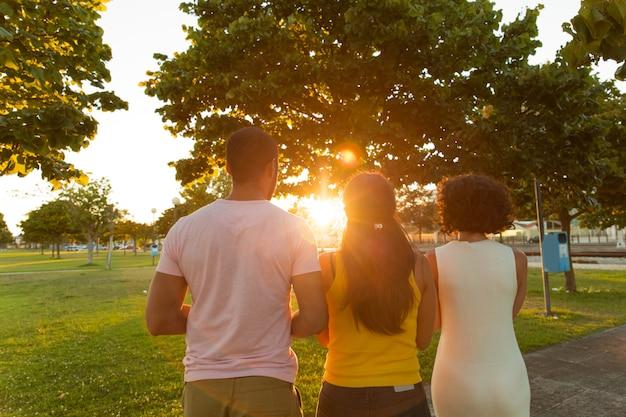 Equipo de amigos mirando el atardecer en el parque de la ciudad