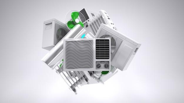 Equipo de climatización con calentador de aire acondicionado