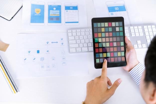 El equipo creativo de diseñadores de ux ui de inicio elige muestras de color para diseñar el diseño de pantallas de aplicaciones móviles.