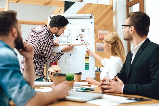 Equipo de diseñadores arquitectos viendo presentación