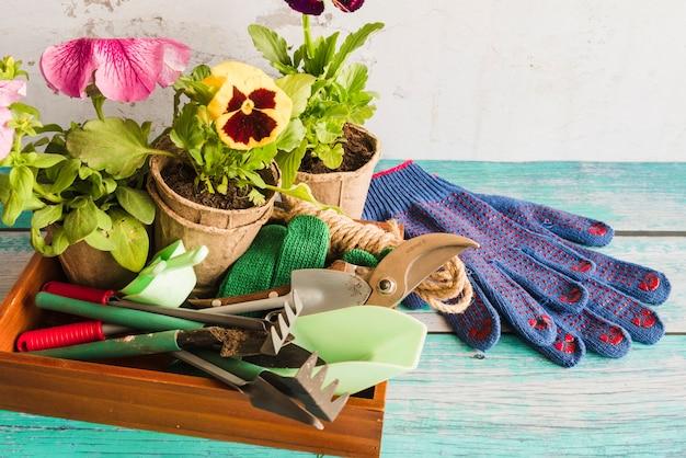 Equipo de jardinería con planta de macetas de turba y guantes de jardinería en mesa de madera