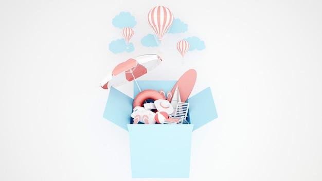 El equipo de juego de agua en la caja azul y el globo sobre fondo blanco - ilustración 3d