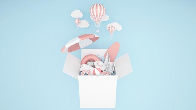 El equipo de juego de agua en la caja y el globo sobre fondo azul - ilustración 3d