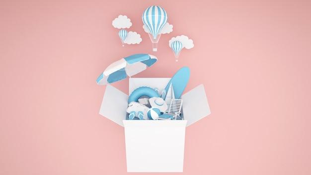 El equipo de juego de agua en la caja y el globo sobre fondo rosa - ilustración 3d