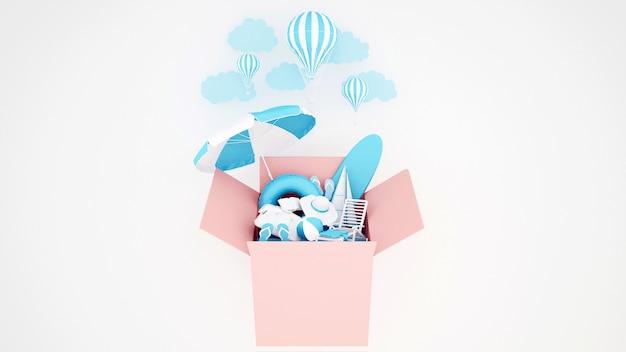 El equipo de juegos acuáticos en la caja rosa y el globo sobre fondo blanco - ilustración 3d