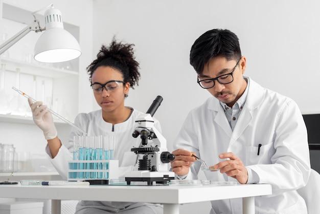 Equipo de laboratorio trabajando juntos