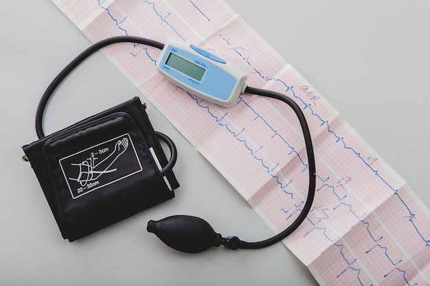 Equipo médico y cardiograma