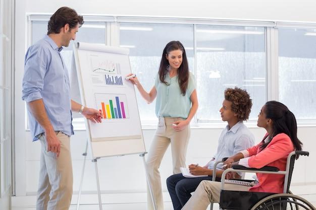 Equipo de negocios atractivo haciendo presentación
