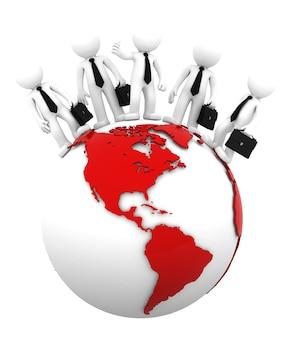 Equipo de negocios en la cima del mundo lado europeo y africano Foto Premium