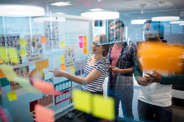 Equipo de negocios creativos leyendo notas adhesivas en la oficina