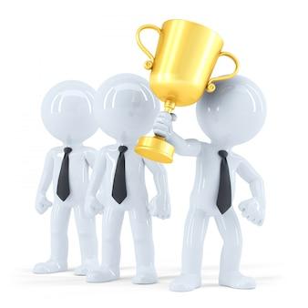 Equipo de negocios exitoso con trofeo. concepto de negocio. aislado.