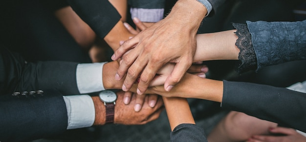 Equipo de negocios stack hands support teamwork concept