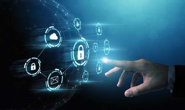 Equipo de seguridad de red de protección y seguro su concepto de datos