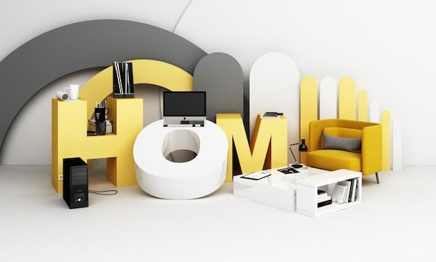 Equipo de trabajo y computadora. está rodeado por las letras wokr form home en tonos amarillos. representación 3d