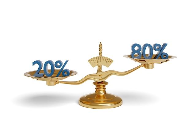 Escala de equilibrio que muestra el principio de pareto.