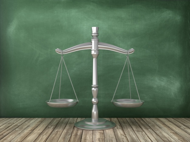Escala de peso legal en el fondo de la pizarra
