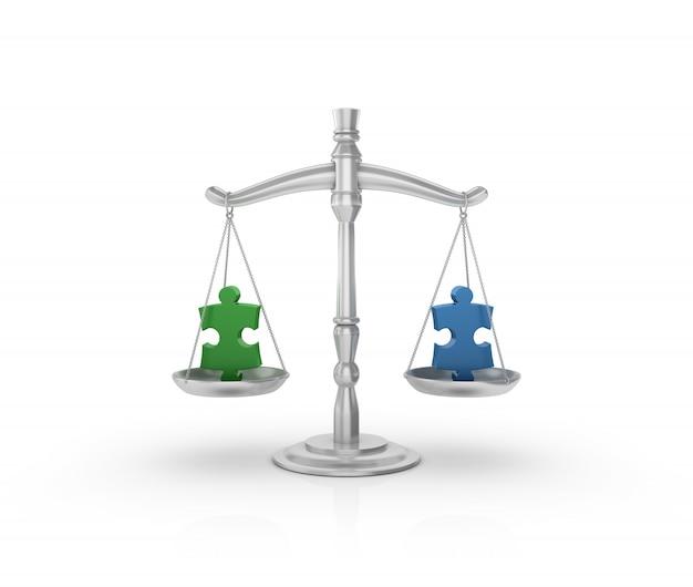 Escala de peso legal con piezas de rompecabezas