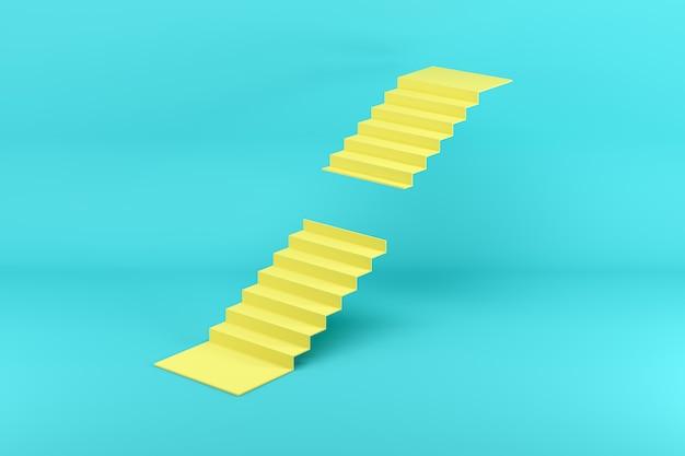 Escalera amarilla falta pasos en el medio aislado en azul