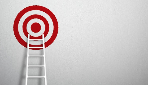 La escalera blanca más larga crece hasta apuntar alto al objetivo. ilustración 3d