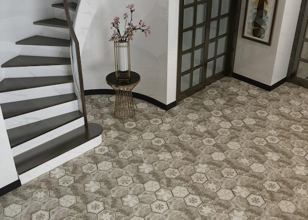 Escalera con diseño de piso en el pasillo.