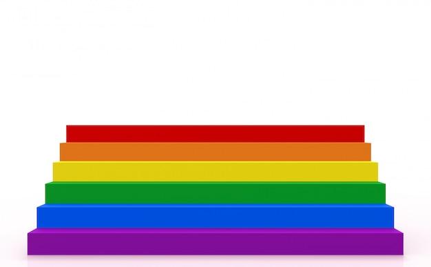Escalera del estilo del color del lgbt en el fondo blanco del espacio de la copia.