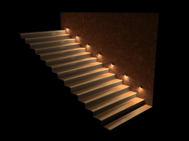 Escalera moderna con escalones retroiluminados.