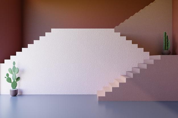 Escalera con planta y muro de hormigón, fondo de sala vintage render 3d