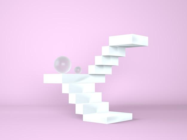 Escalera con podio para la presentación de nuevos productos, renderizado 3d