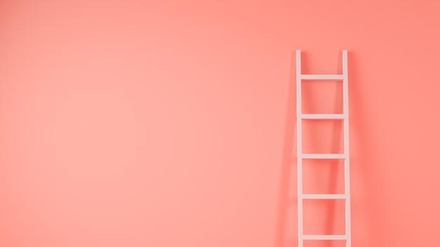 Escalera en la representación 3d del fondo de la pared rosada