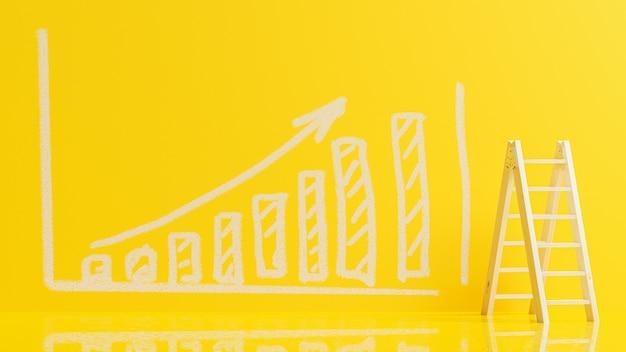 Escalera utilizada para subir para dibujar el gráfico en la pared amarilla 3d render