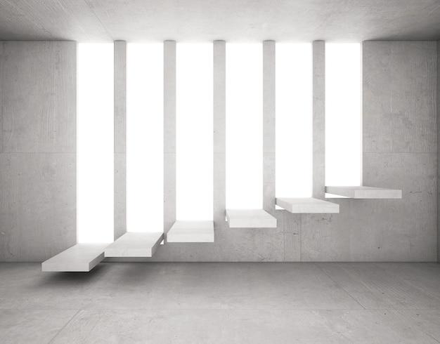 Escaleras de cemento resaltadas en hormigón abierto