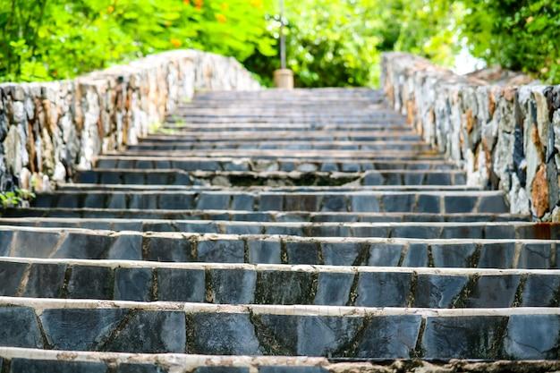 Escaleras de granito y paredes de piedra en el jardín y planta verde.