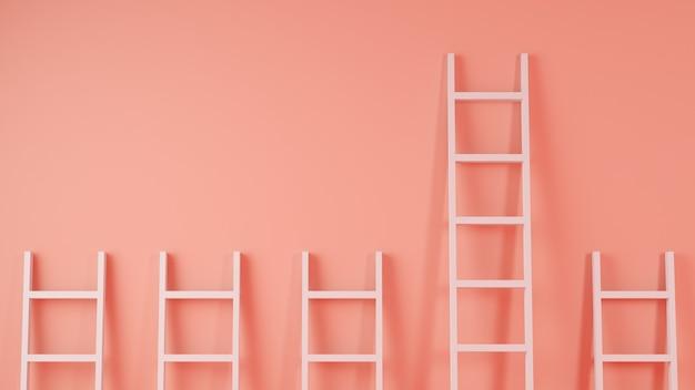 Escaleras en una pared, concepto de liderazgo, render 3d