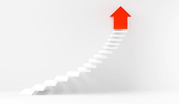 Escaleras paso hacia arriba yendo éxito hacia arriba en la ilustración de renderizado 3d de pared blanca interior
