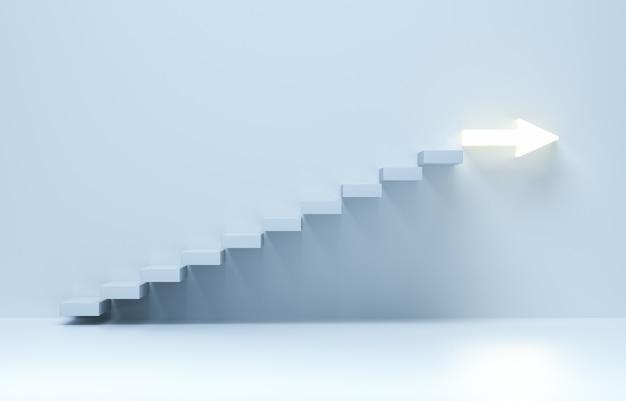 Escaleras que van hacia arriba, escaleras ascendentes de escalera ascendente a la flecha. aumento del negocio, logro hacia adelante. representación 3d.