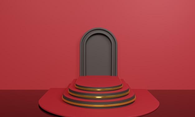 Escaleras rojas abstractas 3d en rojo