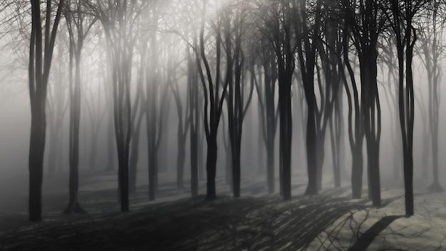Escalofriante fondo de árboles en una noche de niebla