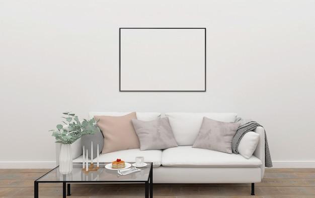 Escandinavo, interior, horizontal, marco, mockup