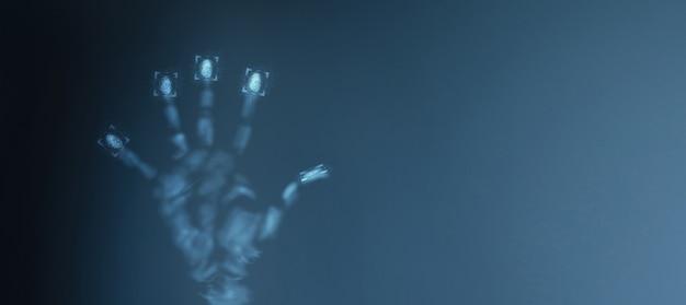 El escaneo de huellas dactilares proporciona un acceso seguro. ilustración 3d