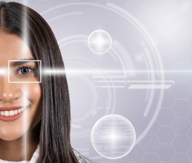 Escaneo ocular de una mujer joven asiática con luz láser sobre la tecnología virtual digital