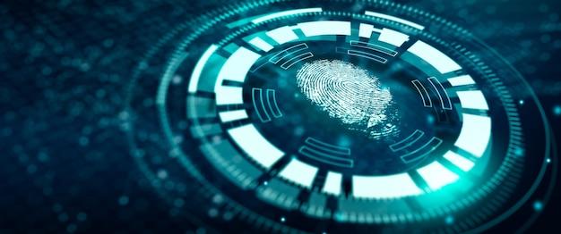 El escaneo de tecnología de huellas dactilares proporciona acceso de seguridad verificación tecnológica avanzada en el futuro