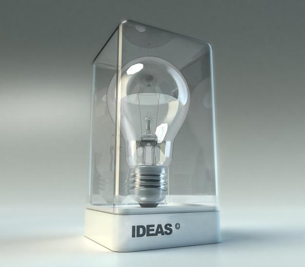Escaparate de diseño con la palabra ideas que exhibe una bombilla.