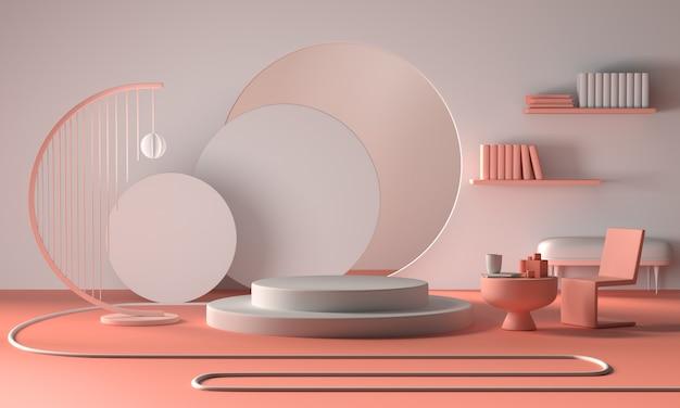 Escaparate o escaparate minimalista moderno, sala de estar interior de apartamentos