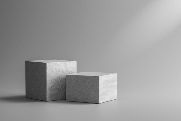 El escaparate de piedra o el podio de roca se colocan sobre fondo gris con mármol y concepto de foco. pedestal de exhibición de producto para diseño. representación 3d