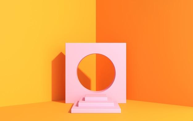 Escena 3d para demostración de producto en estilo art deco, en colores amarillos, plataforma rosa en la esquina, render 3d